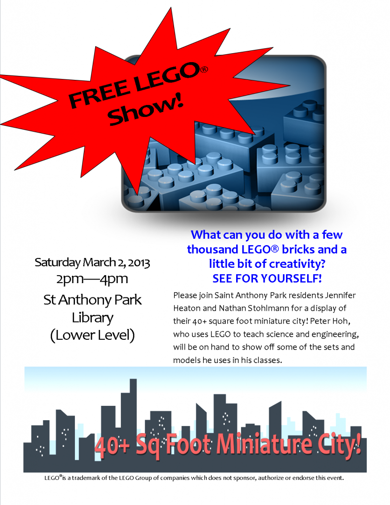 LEGO Show March 2, 2013 at St Anthony Park Library